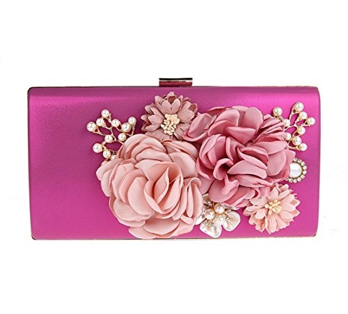 violet avec rose soirée floral Flada violet embrayage rose sac chaîne Perle femme Cristal vvawqRP0