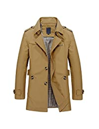 WSLCN Mens Casual Lightweight Jacket Short Trench Coat Turn Down Collar Long Sleeve