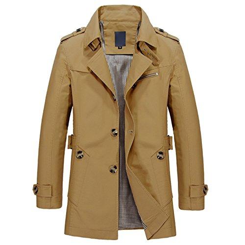 Wool Belted Military Coat - Elonglin Mens Military Trench Coat Long Sleeve Single Breasted Turn Down Collar Jacket Short Slim Fit Dark Khaki Size US XXL (Asian 5XL)