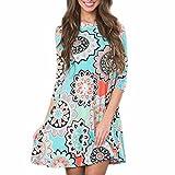 Women Mini Dress,Summer Boho Print Sundress Flowy Evening Party Beach Skirt Axchongery (Blue, 2XL)