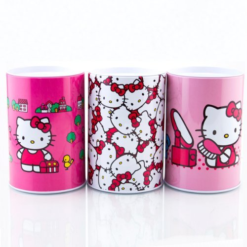 Hello Kitty Round Coin Tin Bank - Kitty Faces
