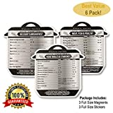 Instant Pot Cheat Sheet Magnets (6 Pack)- Instant Pot Accessories- Prep Times For 35 Common Instapot Functions- Meats- Vegetables- Starches- Breakfast- Desserts- 3 Magnets & Bonus 3 Foil Stickers