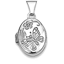 IceCarats 925 Sterling Silver Butterfly Oval Photo Pendant Charm Locket Chain Necklace That Holds Pictures