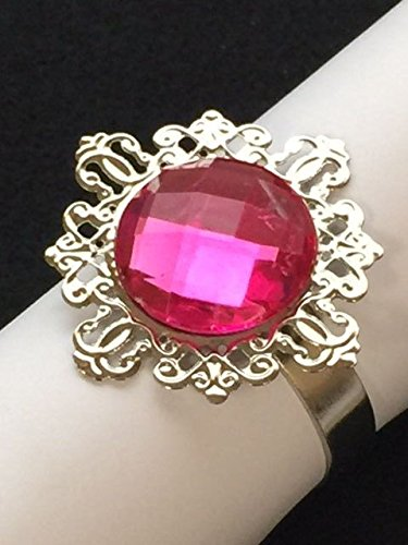 (Wholesale 50 Hot Pink Gem Napkin Rings Bridal Shower Wedding Party Table)