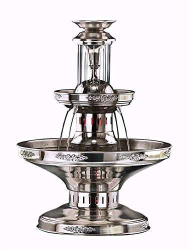 Apex Fountains 3-Tier All Stainless Steel Commercial Party Champagne Fountain With Silver Accents & Waterfall (SS455-ST)