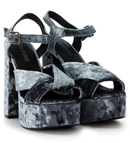 Sandalo con tacco Jeffrey Campbell Amalia in velluto blu chiaro Azul