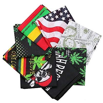 8pcs Bandana, Assorted Bandanas 22X22 100% Cotton, Print Paisley Bandana Party Favor Scarf Headband Handkerchiefs: Clothing