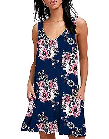 cb59affce939 Fantastic Zone Women Summer Casual T Shirt Dresses Loose Plain Tank Swing  Dress with Pockets Wine