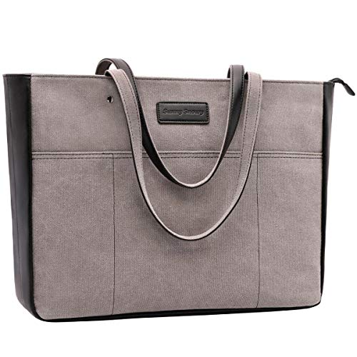 Laptop Tote Bag,Women 13-15.6 Inch Laptop Bag for Work,Lightweight Canvas Tote Bag Office Briefcase(1.Black)