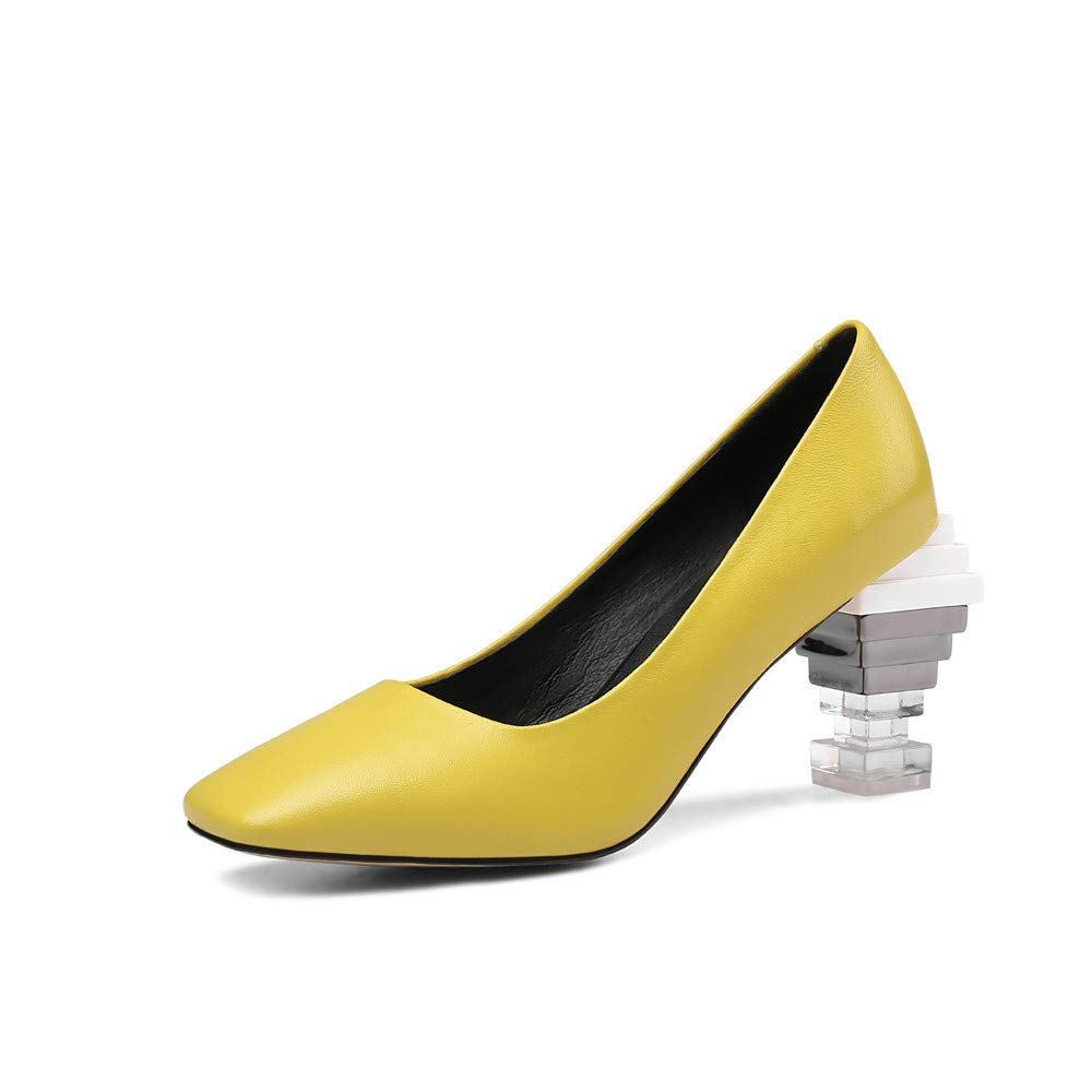 Nine Seven Genuine Leather Womens Square Toe Clear Chic Chunky Heel Handmade Concise Fashion Slip On Women Dress Pumps