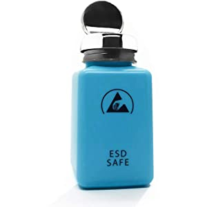 6 OZ 200ml ESD Safe Anti Static Square Bottle,One Touch Stainless Steel Liquid Dispenser Pump for Rubbing Alcohol/Nail Polish Makeup Remover Dispenser Blue (1)