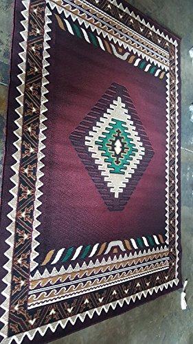 Southwest Native American Area Rug Burgundy & Green Design D143 (8 Feet X 10 - Southwestern Burgundy Area Rug