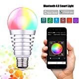 Werleo Bluetooth Smart LED Light Bulb - Smartphone Remote Controlled Sunrise Wake Up LED Light - Multi Color Changing Lightbulb App Control Christmas Party Lights Bulb Lamp Dimmable Night Light - 9W
