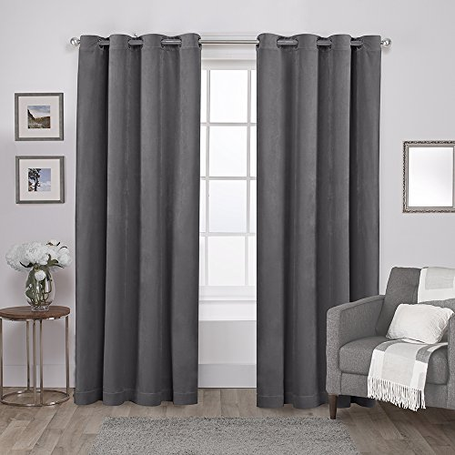 Exclusive Home Curtains Velvet Heavyweight Grommet Top Window Curtain Panel Pair, Soft Grey, 54x84