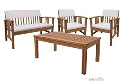 Durable Four Piece Wood Deep Seating Patio Furniture Set Indoor Outdoor Conversation or Chat Set Acacia  sc 1 st  Amazon.com & Amazon.com: Durable Four Piece Wood Deep Seating Patio Furniture Set ...