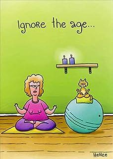 Yoga Woman And Cat Oatmeal Studios Funny Birthday Card