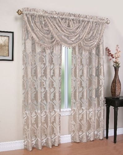 Regal Home Collections Milawi Sheer Jacquard Scroll Rod Pocket Window Panel, 54 by 84-Inch, Beige (Scroll Rod Pocket Curtain)