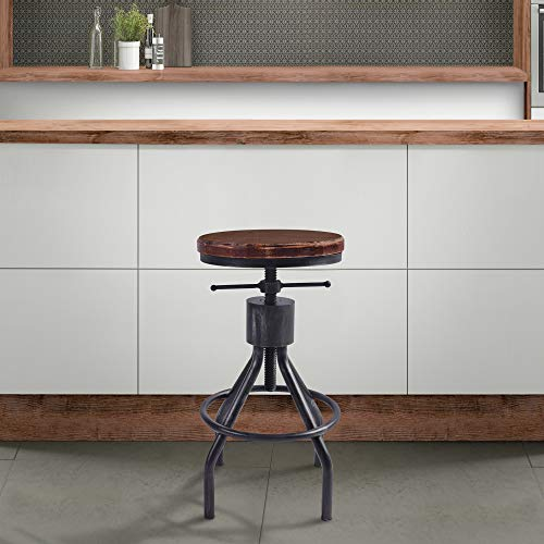 Today s Mentality Paris Industrial Adjustable Backless Barstool Silver Brushed Gray and Rustic Ash Wood Seat