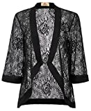 GRACE KARIN Summer Lightweight Beach Cardigan Coverup Lace Blouse(XL, Black 83)