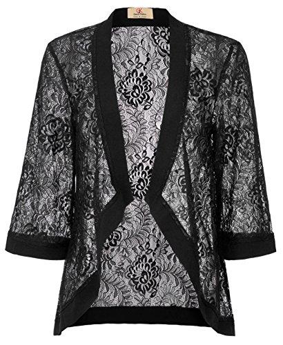 ee Quater Sleeve Floral Cover-up Jacket (L, Black 83) ()