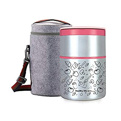 Lille Home 32OZ Vacuum Insulated Stackable Stainless Steel Thermal Lunch box | 2-Tier Bento box/Food Container with Insulated Lunch bag | BPA Free | Leakproof | Adults, Men, Women (pink): Kitchen & Dining
