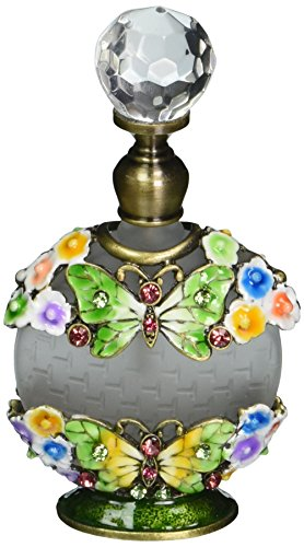 (StealStreet SS-A-51702 Perfume Bottle with Butterfly and White Flower Crystal)