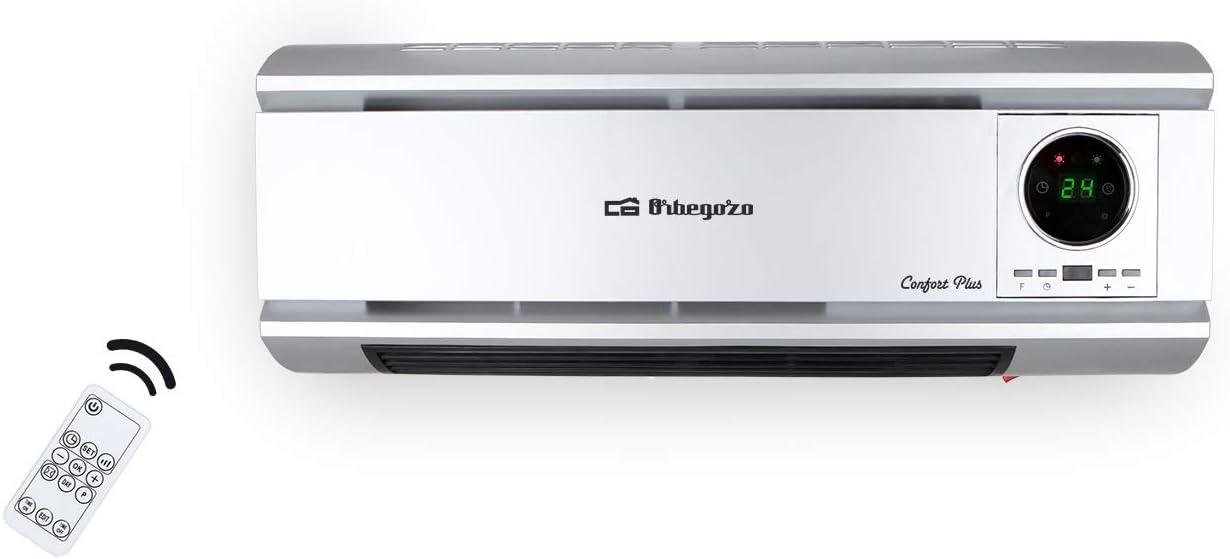 Orbegozo SP 6500 Calefactor de pared, 2000 W, mando a distancia, programación diaria y semanal, protección contra sobrecalentamiento, panel LED