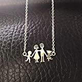 Morrenz - Stainless Steel Girls Boys Necklace Women Mama Kids Neckless Jewelry Accessories Silver Color Family Necklaces Jewerly