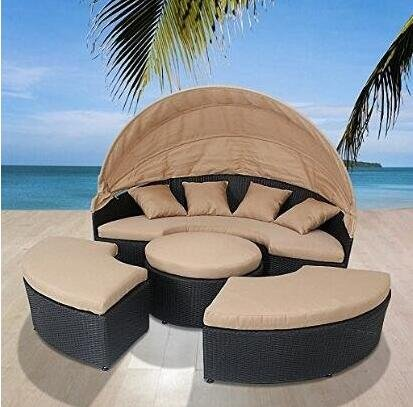 LexMod Quest Circular Outdoor Wicker Rattan Patio Daybed with Canopy