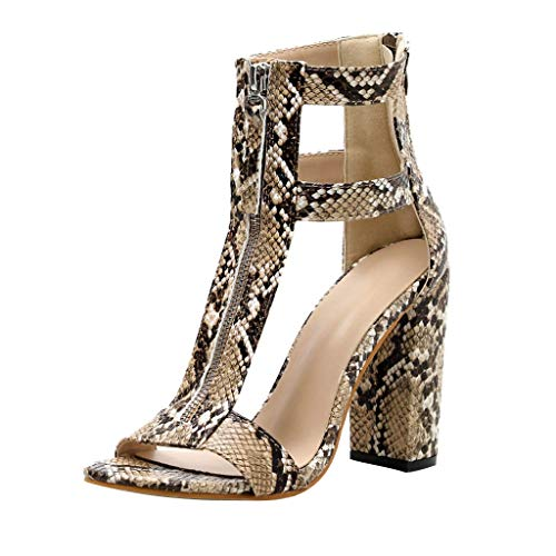 - Mnowson Women's Summer Ankle Booties with Zipper,Fashion Strappy Cutout Middle Chunky Heels Sexy Snake Print Open Toe Wedge Sandals Brown