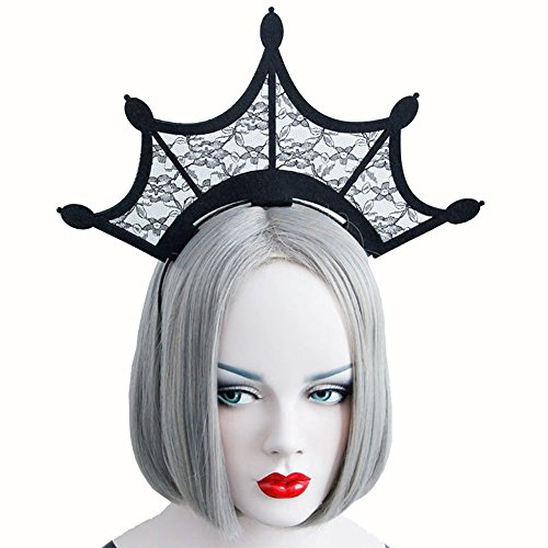 Crowns Halloween (Scala Halloween Fashion Queen Black Lace Headbands Girl Large Tiara Crown Hairbands Headands Woman Cosplay Party Hair Accessories (Black) by)