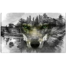YingYu Art Wolf Picture Wall art Black and White Animal Painting Artwork with Green Eyes Canvas Print for Living Room Bedroom Home Decor Framed (Black and White1)