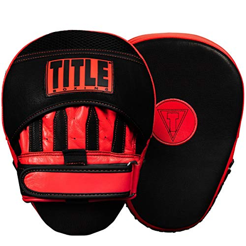 - Title Boxing Vintage Leather Curved Mitts, Black/Red