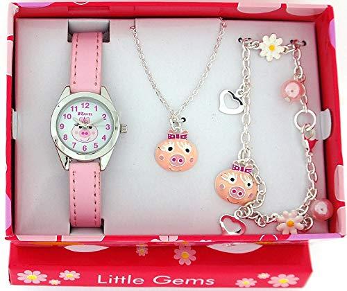 Ravel Little Gems Kids Pink Piggy Watch & Jewellery Gift Set For Girls R2222 (Miss Piggy Watch)