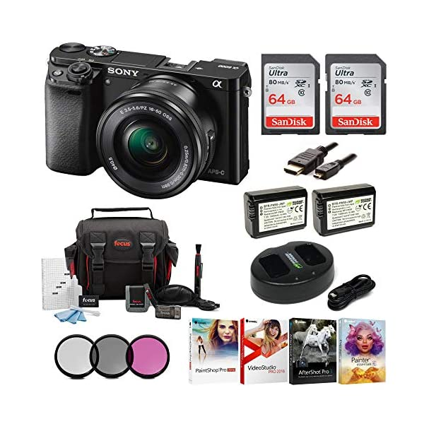 51ytMqZYAAL. SS600  - Sony Alpha a6000 24.3MP Mirrorless Digital Camera with 16-50 mm Lens (Black) and Two 64GB SD Card Bundle (8 Items)