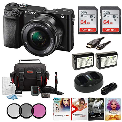 Sony Alpha a6000 Mirrorless Camera w/ 16-50mm Lens & Two 64GB SD Card Bundle (Best Selling Mirrorless Camera)