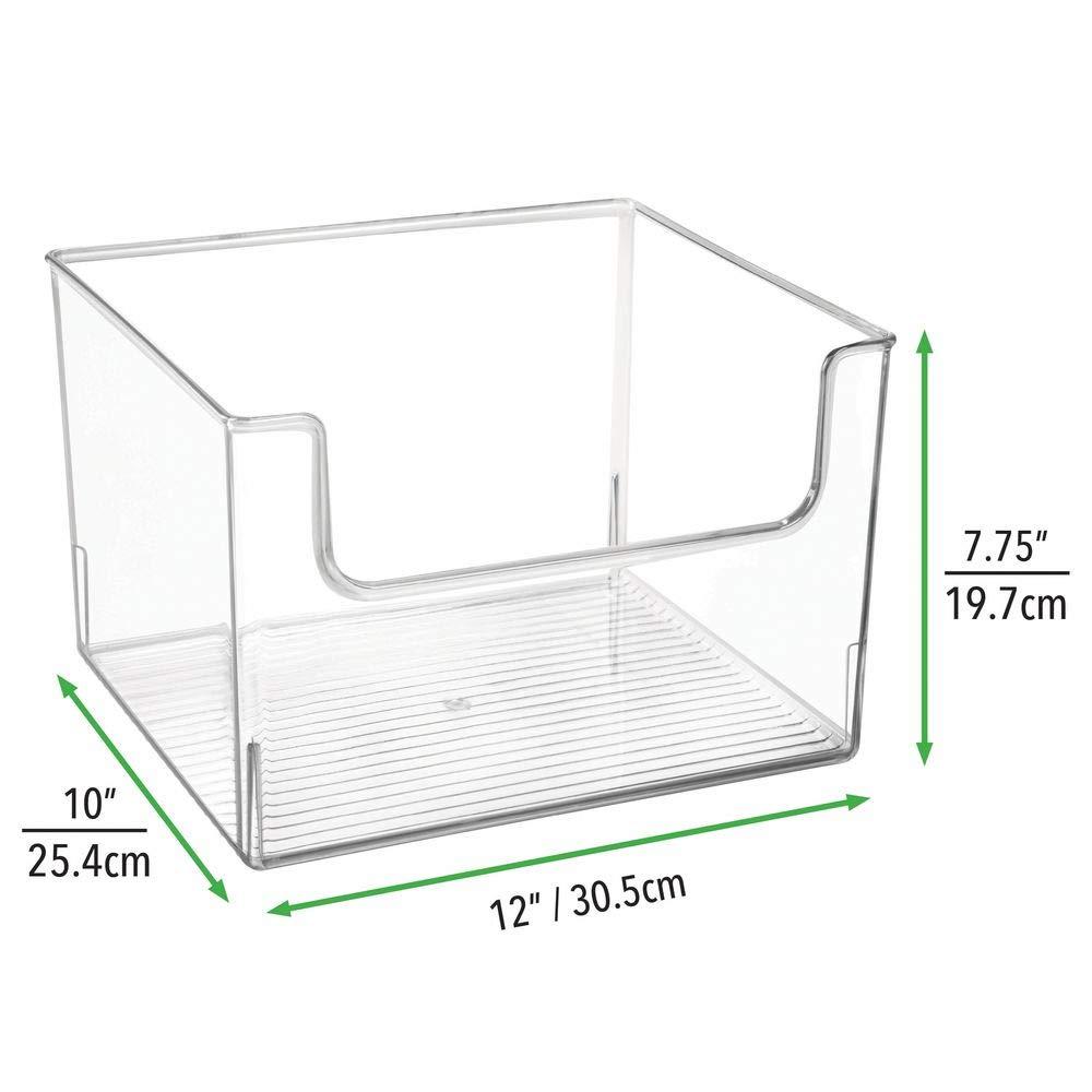 transparent /étag/ère ou cong/élateur rangement frigo en plastique sans BPA mDesign bac de rangement pour nourriture bac alimentaire avec grande ouverture pour r/éfrig/érateur