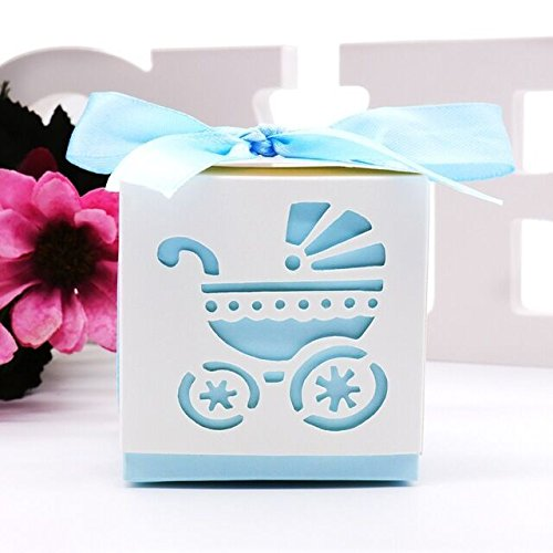 Somnr® 50 Pack Pink or Blue Baby Carriage Laser Cut Square Favor Gift Box Christening Baby Shower Party Favors -