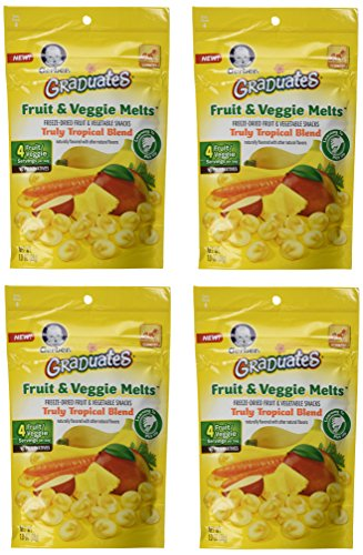 Gerber Graduates Fruit & Veggie Melts - Truly Tropical Blend, 1-Ounce (Pack of 4) by Gerber Graduates