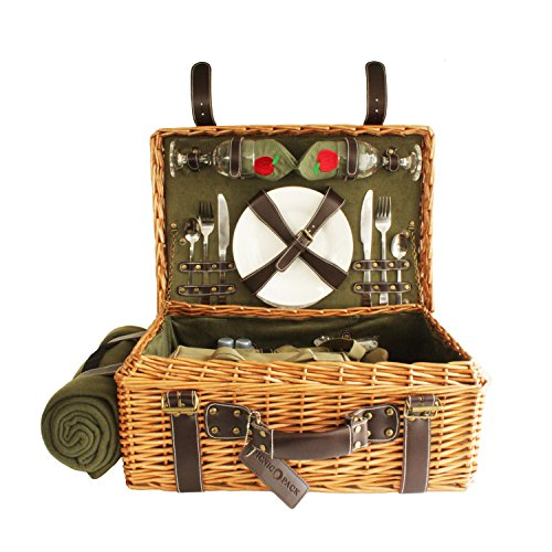English Style Willow Basket (Picnic Pack English Style Willow Picnic Basket for 2-person (Olive Green))