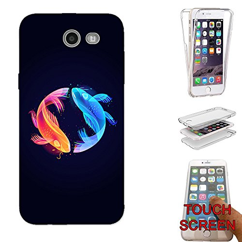 bstract Fish Illustration Design Samsung Galaxy J3 Prime/ J3 (2017) Fashion Trend CASE Gel Rubber Silicone Complete 360 Degrees Protection Flip Case Cover (Fish Colourful)