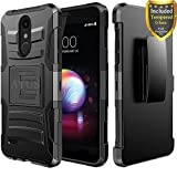 LG K30 Case, LG Harmony 2, LG Phoenix Plus, LG Premier Pro, LG K10 2018, Case with Full Cover Tempered Glass Screen Protector, ATUS – Rugged Protective Kickstand Case with Holster (Black/Black)