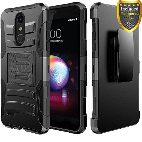 LG K30 Case, LG Harmony 2, LG Phoenix Plus, LG Premier Pro, LG K10 2018, Case with Full Cover Tempered Glass Screen Protector, ATUS - Rugged Protective Kickstand Case with Holster (Black/Black)