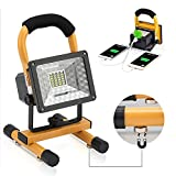 Vaincre 15W 24 LED RED Strobe Rechargeable LED Work Light with Magnetic Stand Portable Outdoor Camping Spotlights with Dual USB Port