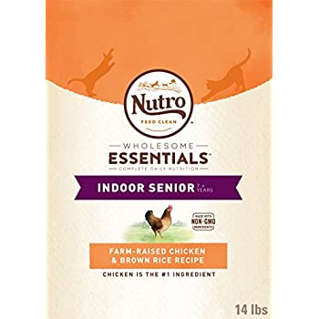 Nutro Wholesome Essentials Indoor Senior Dry Cat Food Farm-Raised Chicken & Brown Rice Recipe, 14 Lb. Bag