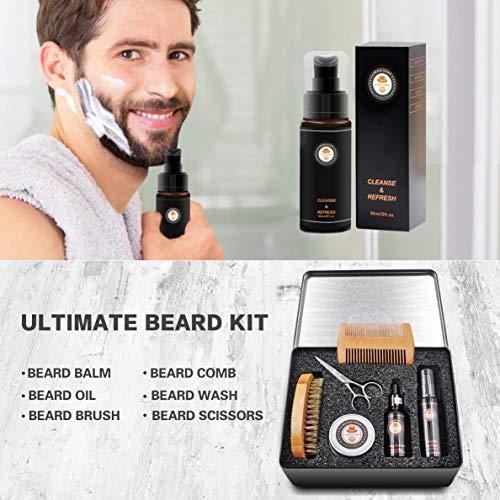 XIKEZAN Beard Grooming Kit in METAL BOX wBeard Shaping ToolBeard ShampooWashBeard Conditioner