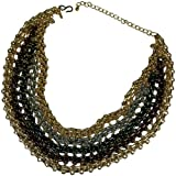 KENNETH JAY LANE-MULTI METAL CHAIN WOVEN LINK BIB NECKLACE-16-22 INCHES