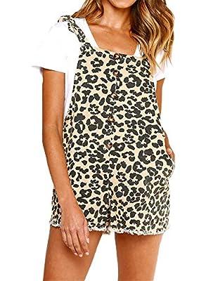 ezShe Womens Leopard Bib Shortalls Jumpsuit Overall Shorts