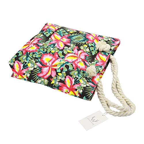 Green Leaf Flower ElkIsComing para Bolso amp; hombro mujer Red Lona de al 1ww0T8qS7