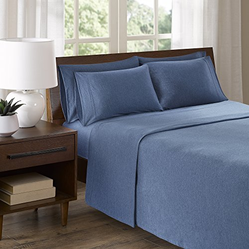 Cotton Jersey Knit Sheets Set - Ultra Soft Twin Bed Sheets With Deep Pocket - Navy Bedding Sets Includes 4 Pieces [ 1 Fitted Sheet,1 Flat Sheet, and 2 Pillow Cases ] Twin Size Sheets (1 Piece Knit)